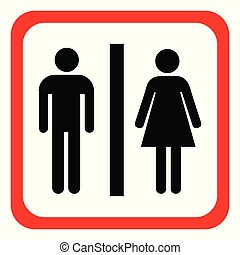 Vector man and woman icons, toilet sign, restroom, minimal style, pictogram