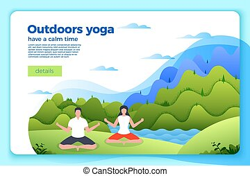 Vector - man and woman in yoga lotus pose.