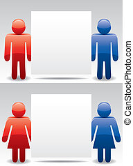 man and woman symbols holding blank paper