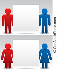 man and woman symbols holding blank pape