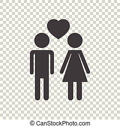 Vector man and woman with heart icon on isolated background. Modern flat pictogram. Simple flat symbol for web site design.