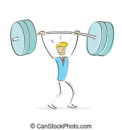 vector man doing weight lifting - illustration of vector...