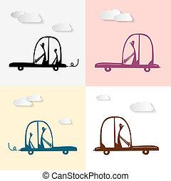 Vector Man Driving Car Illustration Set, Silhouette