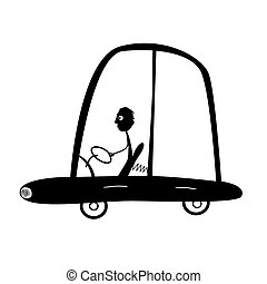 Vector Man Driving Car Illustration, Silhouette Isolated on...