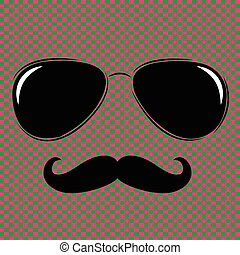 Vector man face outline with sunglasses