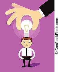 Vector man idea. Vector flat cartoon illustration