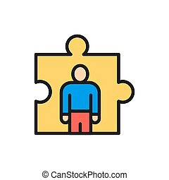 Vector man in a puzzle, recruitment and hiring flat color line icon.