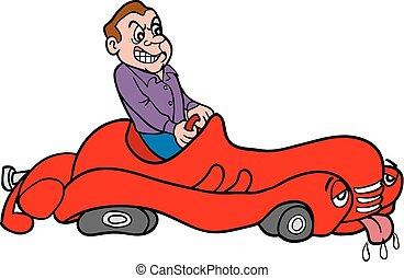 Vector-Man In Broken Down Car