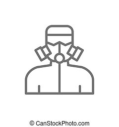 Vector man in gas mask line icon.