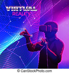 Vector - man in virtual reality glasses