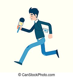 Vector man journalist reporter running with mic - Vector...