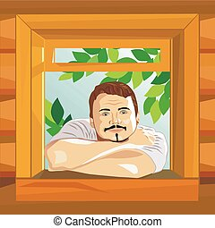 vector Man looks at the window of a house