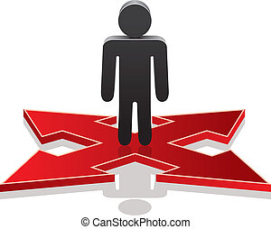 vector man making a choice on crossroads - vector icon of a ...