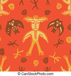 vector man-moose seamless pattern red