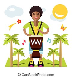 Vector Man playing Djembe. African music. Flat style colorful Cartoon illustration.