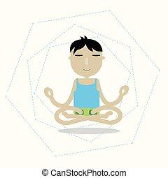 Vector man sitting cross-legged meditating - Illustration of...