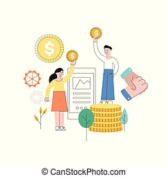 Vector man standing at book pile with golden coin