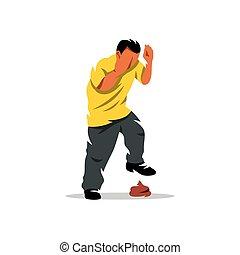 Vector Man stepping into shit Cartoon Illustration. - Boy...