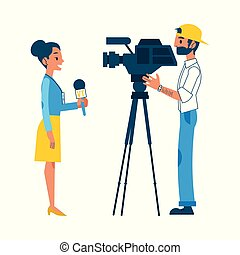Vector man video reporter setting camera interview - Vector...