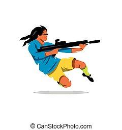 Vector Man with a gun Cartoon Illustration.