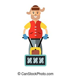 Vector Man with a Snow Blower. Flat style colorful Cartoon...