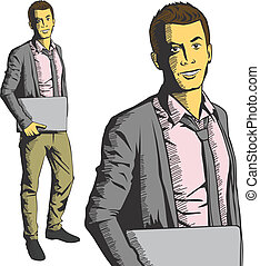 Vector man with laptop in his hands - Vector business man...