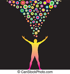 Colorful thoughts - Vector Man with outstretched arms and...