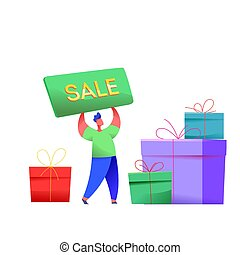 Vector man with sale poster present boxes