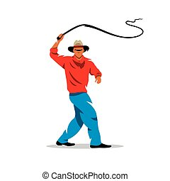 Vector Man with whip Cartoon Illustration. - Man swinging...