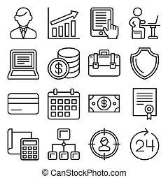 vector, management, menselijk, stijl, middelen, lijn, iconen, set., zakelijk