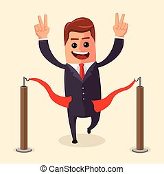 Vector manager or businessman at finish line. A man in  suit crosses the  , red ribbon. Illustration. cartoon  winner.  character . Flat .