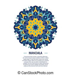 Vector Mandala background with text. Vintage decorative...