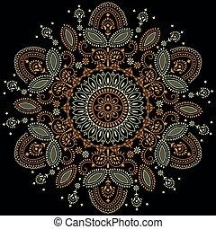 Vector mandala design on black background