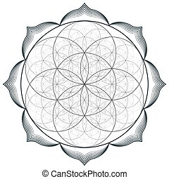 vector mandala sacred geometry illustration - vector contour...