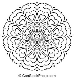 Vector Mandala with hearts. Black on white background decorative element. Circular geometric abstract line art. Illustration of pattern for coloring book for adult, cards, and other decorations.