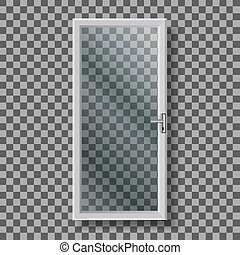 vector, manija, puerta, vidrio, marco, blanco