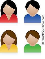 vector, mannelijke , vrouwlijk, iconen