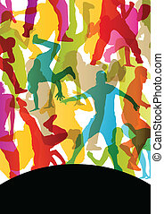 vector, mannen, abstract, dansers, jonge, illustratie,...