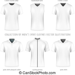 vector, mannen, sportende, verzameling, kleren
