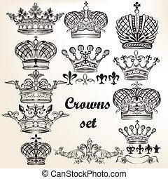 vector, mano, coronas, conjunto, dibujado
