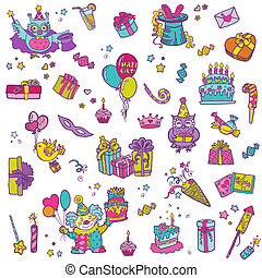 vector,  -, mano, cumpleaños, diseño, álbum de recortes, invitación, dibujado, elementos, celebración