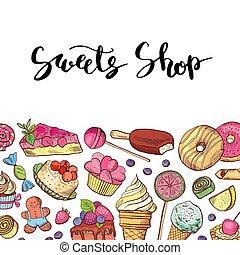 vector, mano, dibujado, coloró dulces, tienda, o, confitería
