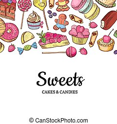 vector, mano, dibujado, coloró dulces, tienda, o,...