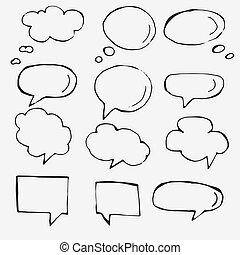 vector, mano, dibujado, discurso, burbujas, blanco