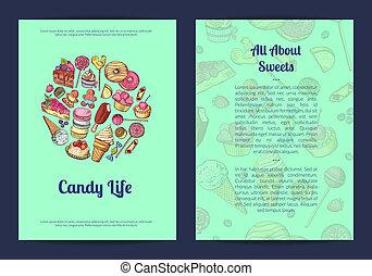 vector, mano, dibujado, dulces, pastel, tienda, o,...