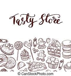 vector, mano, dibujado, dulces, tienda, o, confitería