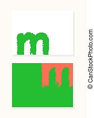vector, mano, dibujado, letra m, con, liso, acrílico, cepillo, estilo, bordes, colorido, saturado, plano de fondo, conjunto