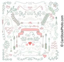 vector, mano, sketched, rústico, diseño floral, elementos