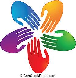 vector, manos, conexión, logotipo