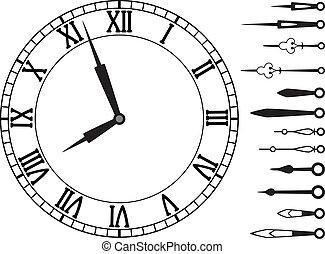 vector, manos, conjunto, reloj